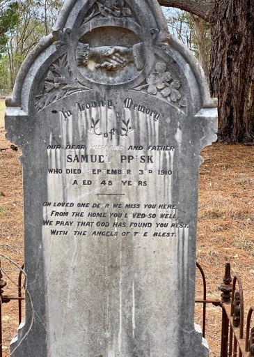 Headstone for Samuel Prisk, died Sept 3, 1910, at Hillgrove