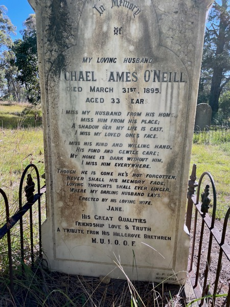 Headstone of Michael James O'Neill, died Hillgrove, 1895